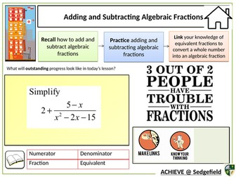 Adding algebraic fractions - a revision lesson