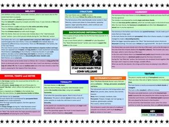 Star Wars differentiated revision grid (Edexcel 9-1 GCSE Music)