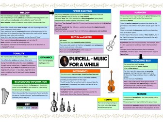 Music for a While Purcell differentiated revision grid (Edexcel 9-1 GCSE Music)