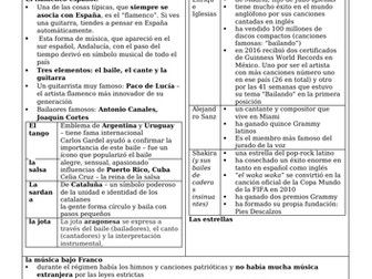 Spanish A Level la música: topic revision sheet with key cultural references for speaking