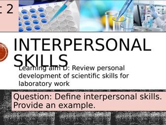 Pearson BTEC-Applied science-UNIT 2D-Interpersonal skills