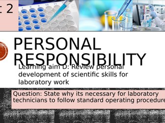 Pearson BTEC-Applied science-UNIT 2D-Personal  responsibility