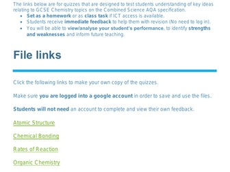 Chemistry Quizzes for AQA GCSE Science