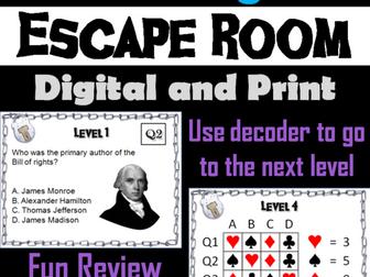Bill of Rights: Escape Room - Social Studies