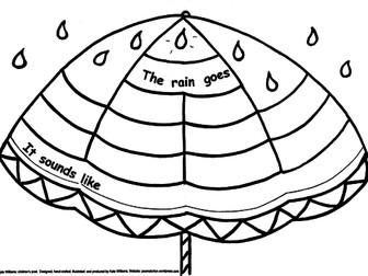 RAIN - RHYMES + WRITING SHEET + Guide Sheet, EY/KS1