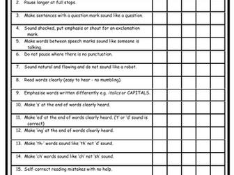 Assessing Reading - Pupil Self-Assessment - Tracking progress