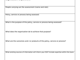 Equality Impact Assessment Proforma