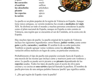 La Paella: Lectura y Cultura - Spanish Cultural Reading on Paella