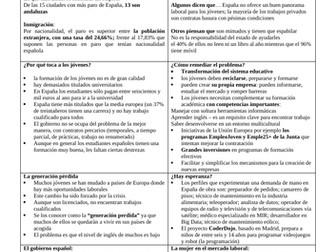 Spanish A Level el mundo laboral en España: revision sheet on unemployment in Spain