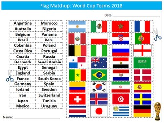 World Cup 2018 Country Flags Matchup Sheet Starter Activity Keywords Cover PE Sport