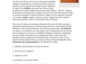 Las Líneas de Nazca Lectura y Cultura: Spanish Reading on Nazca Lines of Peru