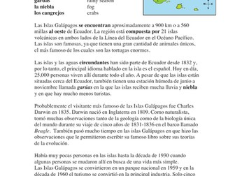 Las Islas Galápagos Lectura y Cultura: Spanish Reading on the Galapagos Islands