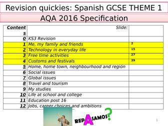 AQASpanishGCSE GRAMMAR/ VOCABULARY- ALL THEMES 1/2/3  (over 200 slides of activities)