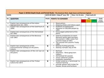 History Edexcel 9-1 American West practice exam questions