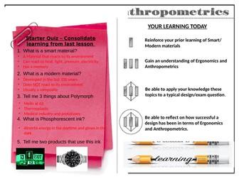 Ergonomics and Anthropometric  Design Activity