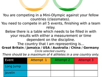 Mini-Olympic Athletics Lesson