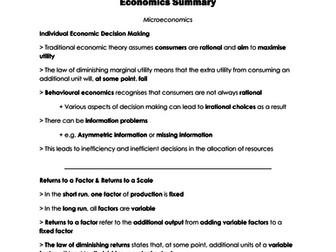 A Level Economics I Microeconomic Summary