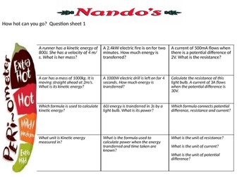 9-1 trilogy physics revision Nandos style formula questions paper 1
