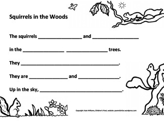 Writing Sheet - Squirrels in Woods - Ys 2+3, guided.