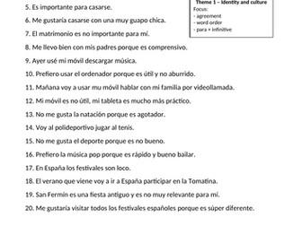 Spanish GCSE writing: common mistakes (corrige los errores)