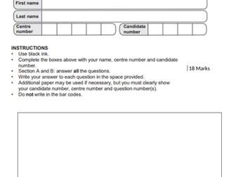 OCR GCSE Business Marketing topic test