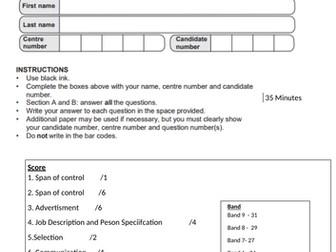 GCSE Business Recruitment topic test