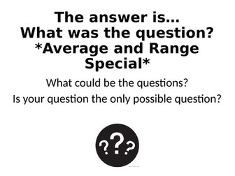 What Was The Question? - Average and Range Special