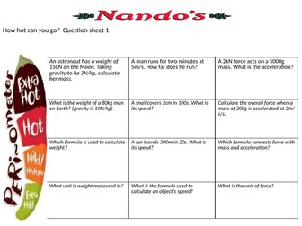 Trilogy physics paper 2 Nandos-style formula questions