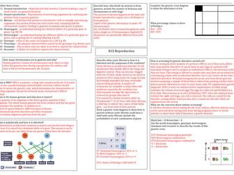 AQA Reproduction answer sheet