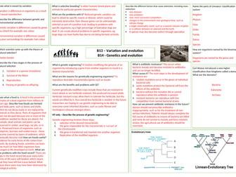 AQA Variation and evolution answer sheet