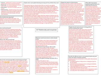 AQA Biodiversity answer sheet
