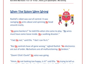 It's or Its?  Story-Checking Challenge - Yrs 4-6