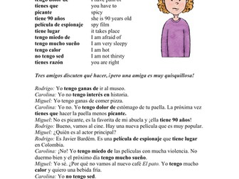 Tener Expressions Spanish Funny Reading: Una amiga quisquillosa Lectura