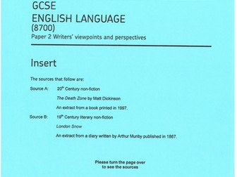 A range of exemplar responses to the AQA GCSE ENGLISH LANGUAGE papers - 1 and 2