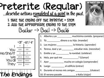 Spanish Preterite Tense Worksheet - Regular