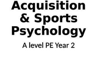 Skill Acquisition and Sports Psychology A level PE OCR Specification Book 2