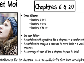 No et Moi- Worksheets to study chapters 6 to 20 and summary