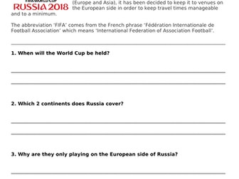 FIFA World Cup 2018 - Comprehension & Maths Activities