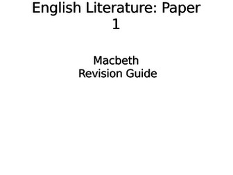 Edexcel English Language Paper 1 and 2, Macbeth and An