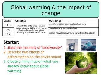 NEW AQA GCSE Trilogy (2016) Biology - Global warming & the impact of change