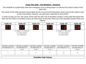 Crack The Safe - Sets and Venn Diagrams