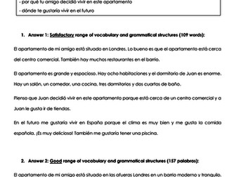 GCSE Spanish writing model answers house and local area: three differentiated model answers