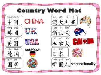 Countries_Word Mat in Mandarin Chinese