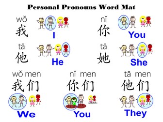 Personal Pronoun_Word Mat in Mandarin Chinese