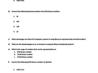 Variety of Computer Science worksheets