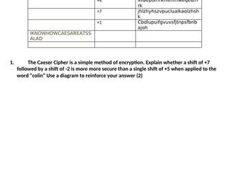 [GCSE + IGCSE] Caesar Cipher Encryption and Decryption Task