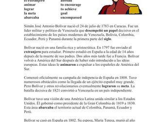Simón Bolívar Biografía - Spanish Biography + Worksheet on Simon Bolivar