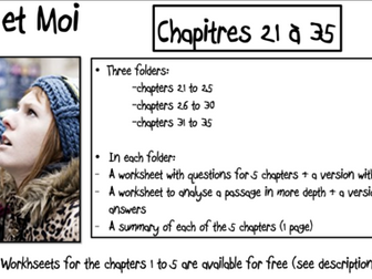 No et Moi- Worksheets to study chapters 21 to 35 and summary