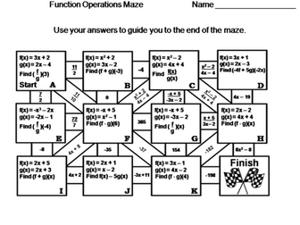 Function Operations: Math Maze