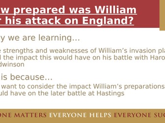 How prepared was William for his invasion of England? - Suitable for AQA 8145 Normans and KS3